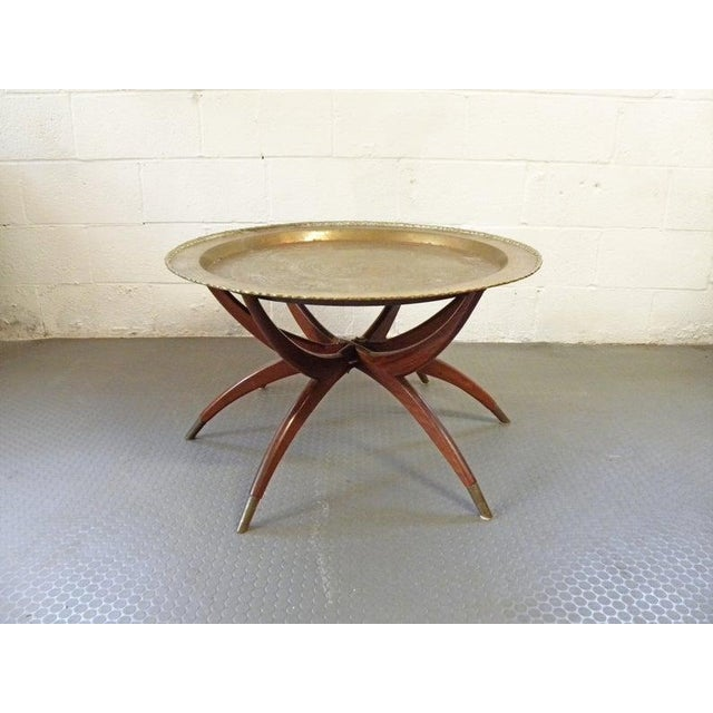 Vintage Turkish Spider Leg Brass Tea Table For Sale In New York - Image 6 of 7