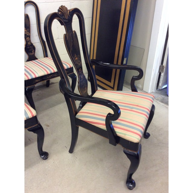 Drexel Heritage Black Lacquer Asian Style Dining Chairs - A set of 6 For Sale - Image 9 of 11