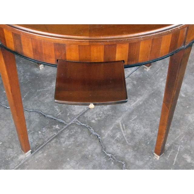 Good Quality French De Bournay Cherry and Walnut Parquetry Game/Side/Center Table With Marble Top For Sale - Image 4 of 7