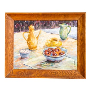 Still Life Painting | Pastel Kitchen Breakfast Coffee and Doughnuts For Sale