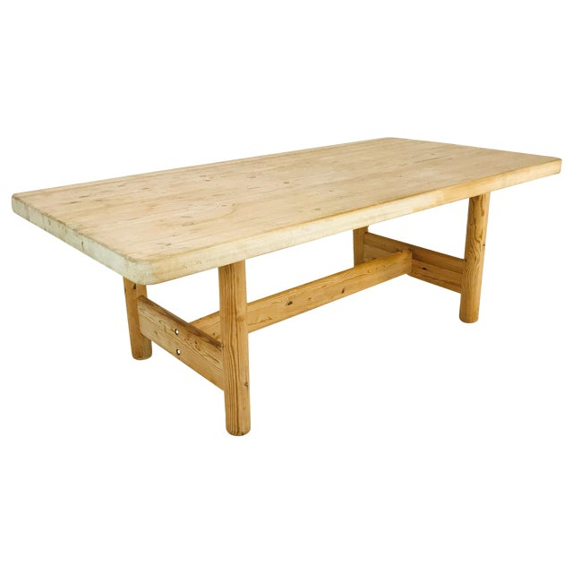 Substantial Solid Scandinavian Pine Butcher Block Dining Table For Sale