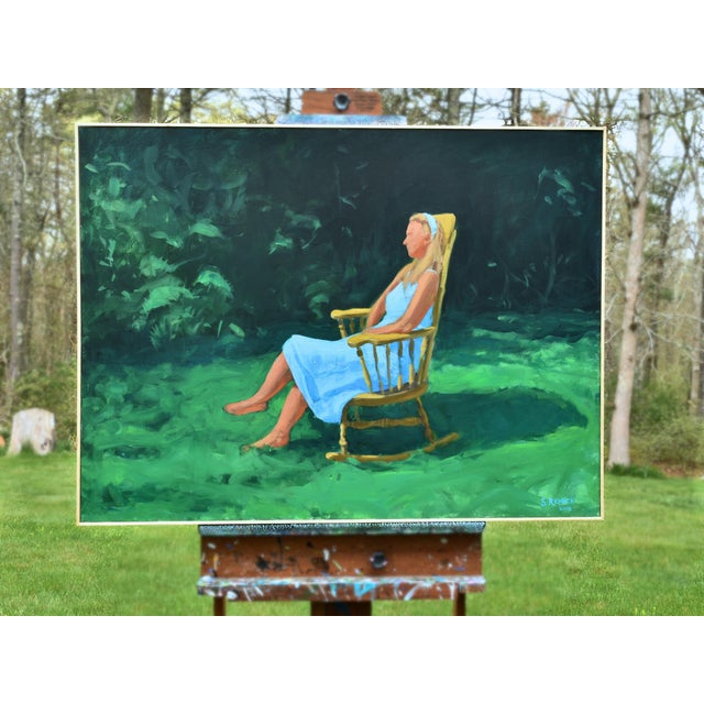 Painting of a Woman Sitting in a Rocking Chair Outside For Sale - Image 10 of 12