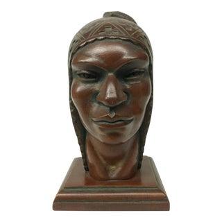 1940s Vintage Hand-Carved Solid Wood Bust For Sale
