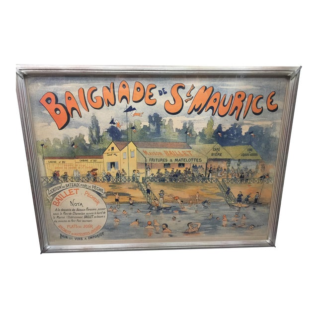 Antique French Advertising Poster Baignade De St . Maurice For Sale
