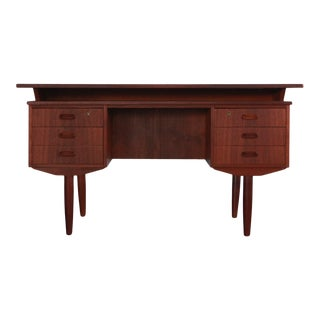 Mid-Century Modern Floating Top Teak Writing Desk For Sale