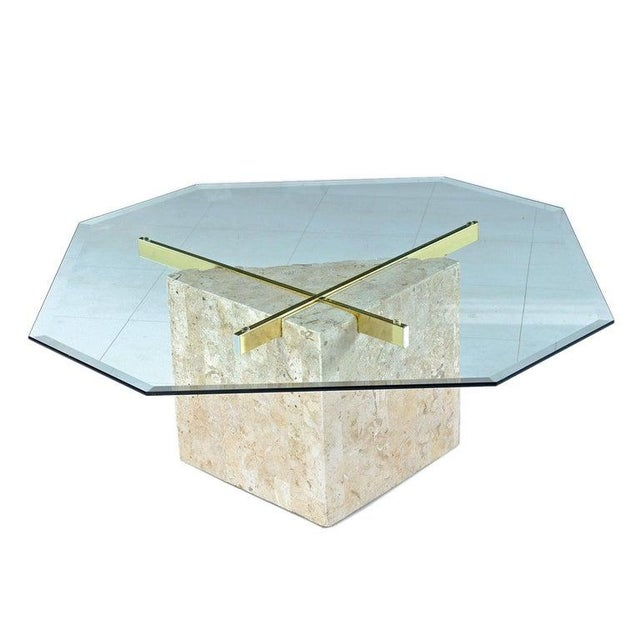 Maitland-Smith Style Brass & Glass Tessellated Stone Pedestal Coffee Table For Sale - Image 10 of 10