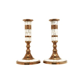 Vintage Brass & Mother of Pearl Candle Holders - Set of 2 For Sale