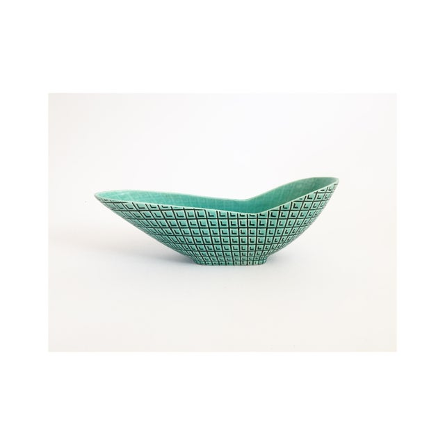 Ceramic Mid Century Atomic Turquoise Planter by Roselane Pottery For Sale - Image 7 of 7