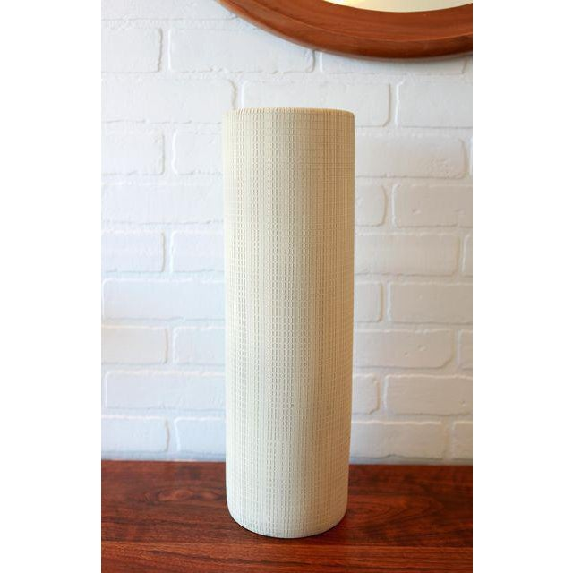 Hand Textured Grid Patterned Tall Studio Pottery Ceramic Vessel. Great unglazed matte finish on clay, unglazed. The piece...