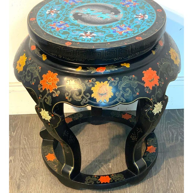 Mid 20th Century Chinese Export Black Lacquer and Cloisonné Koi Motif Table For Sale - Image 5 of 13