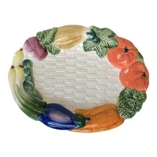1990s Cottage Fitz and Floyd Oval Vegetable Basketweave Platter For Sale