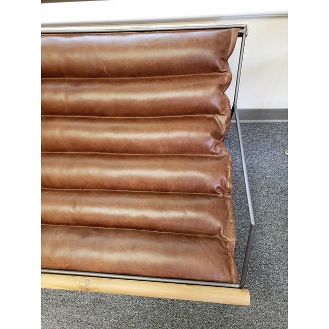 Modern Mid Century Style Style Brown Leather & Metal Sling Loveseat For Sale - Image 9 of 12