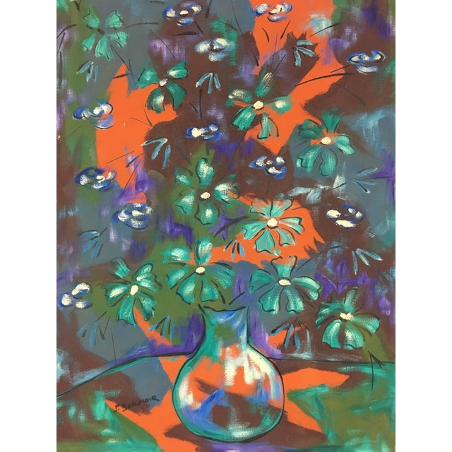Blue 1960s Vintage Original Haitian Floral Still Life Oil Painting by Listed Artist Paul Beauvoir For Sale - Image 8 of 13