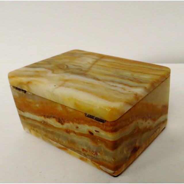 Camel Vintage Carved Onyx Box For Sale - Image 8 of 10