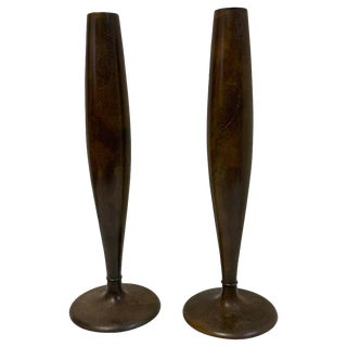 Pair of Tapered Bronze Vases, by Tiffany Studios, New York For Sale