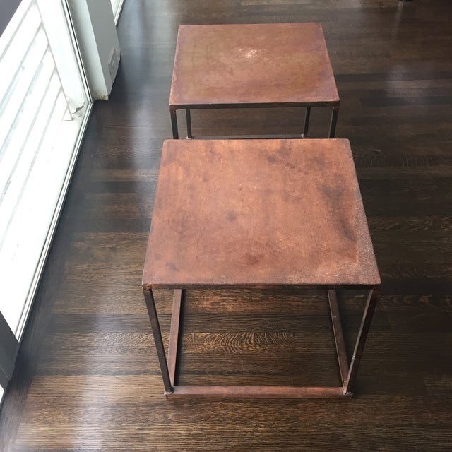 Industrial Frame Square Side Tables - Pair - Image 2 of 7