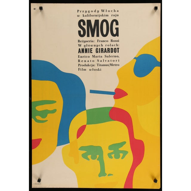 "An original, first release 1967 in Poland film poster for the 1962 Franco Rossi Italian romantic drama ""Smog"", starring..."