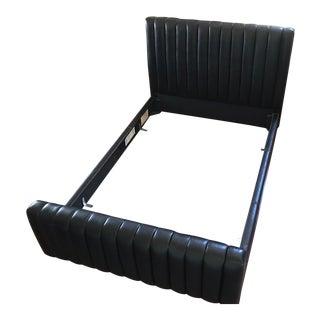 Ralph Lauren Channeled Black Leather Bedframe For Sale