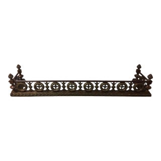 French Bronze Ornate Wreath Design Fireplace Fender, 19th Century For Sale