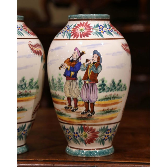 Henriot Quimper Pair of Early 20th Century French Hand Painted Vases Signed Hb Quimper For Sale - Image 4 of 12
