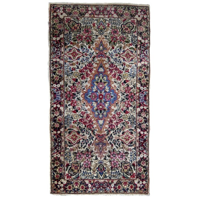 Textile 1910s, Handmade Antique Persian Kerman Rug 2.2' X 4.1' 1910s For Sale - Image 7 of 7