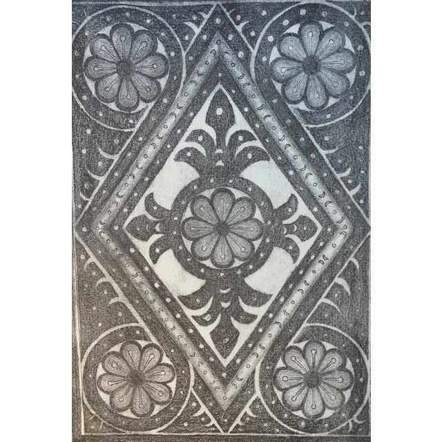 1906 English Photo-Tints, Charcoal Rubbings of Woodcarving - a Pair - Image 10 of 11
