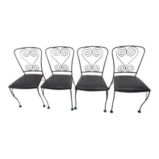 Vintage Black Wrought Iron Patio Chairs - Set of 4