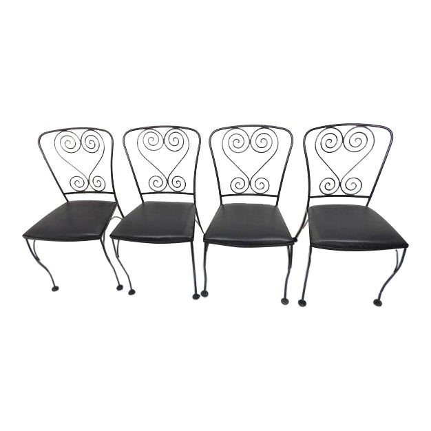 Vintage Black Wrought Iron Patio Chairs - Set of 4 For Sale