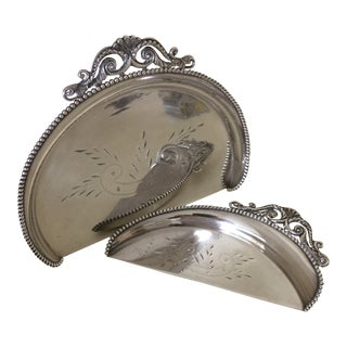 Vintage Hand Etched Silver Plated Crumber by Crescent Silver Co. - 2 Piece For Sale