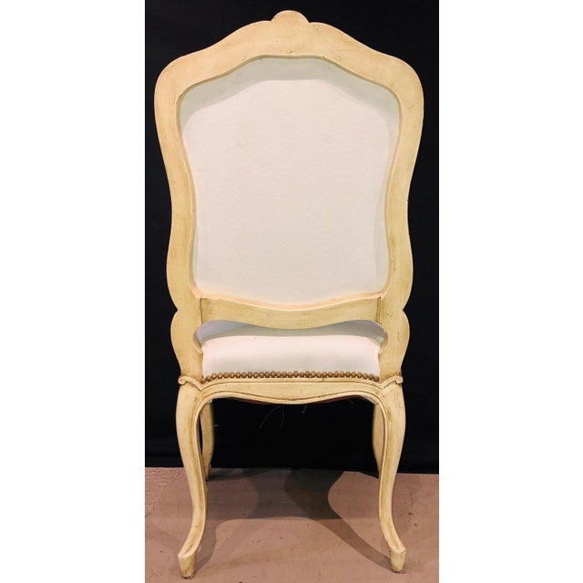 White Labeled Jansen Fine Pair of Oversized Side or Desk Chairs in Parcel Gilt Paint For Sale - Image 8 of 13
