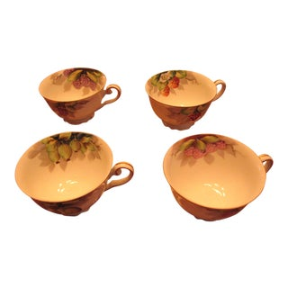 1940s Vintage Hata Occupied Japan Period Fruit Motif Teacups - a Pair