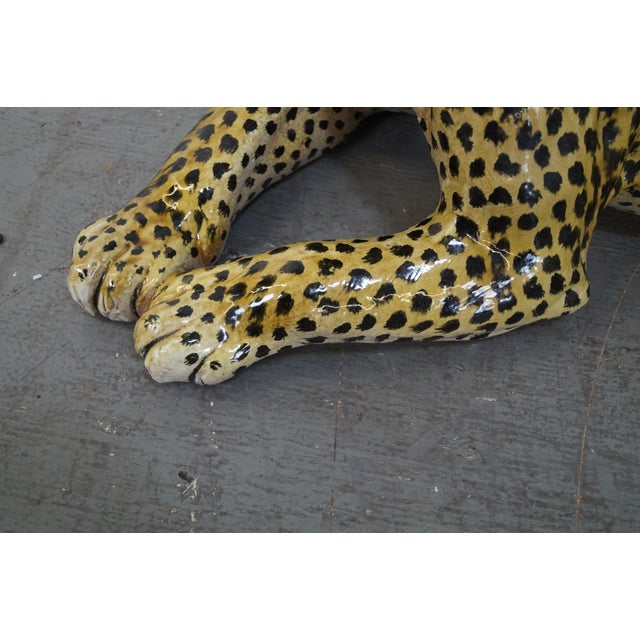 Brown Large Italian Pottery Ceramic Leopard Statue For Sale - Image 8 of 10
