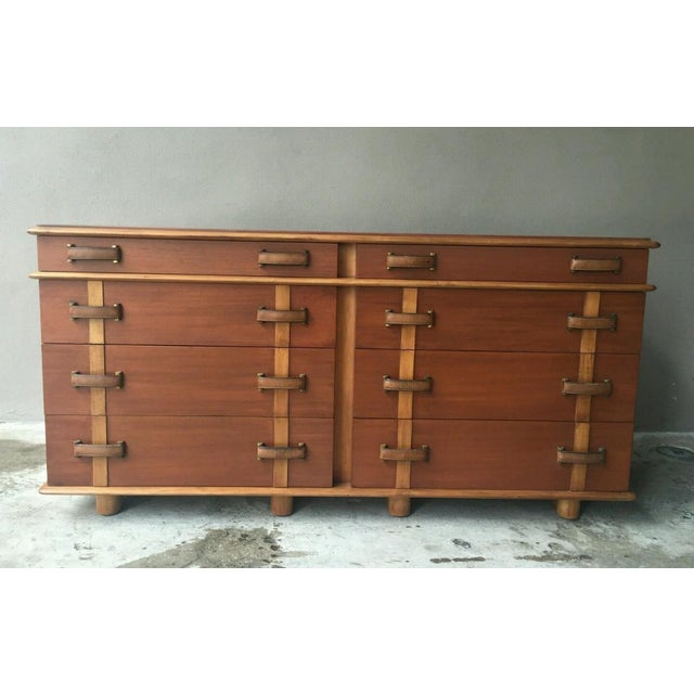 Johnson Brothers Paul Frankl station wagon series double chest sold as found in vintage condition refinished.