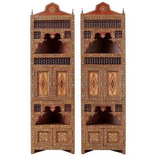 Pair of Moorish Syrian Style Inlaid Corner Cabinets For Sale