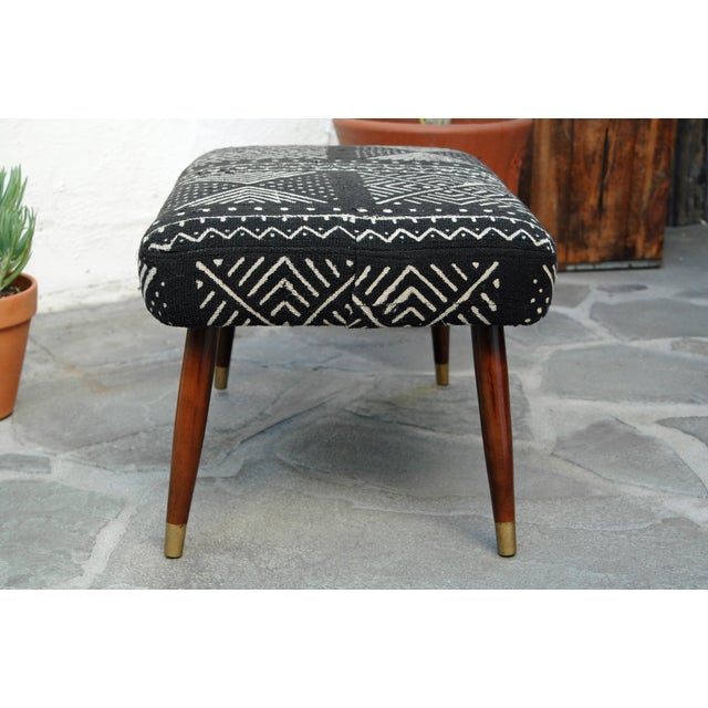 Mid-Century Footstool With African Mudcloth - Image 4 of 7
