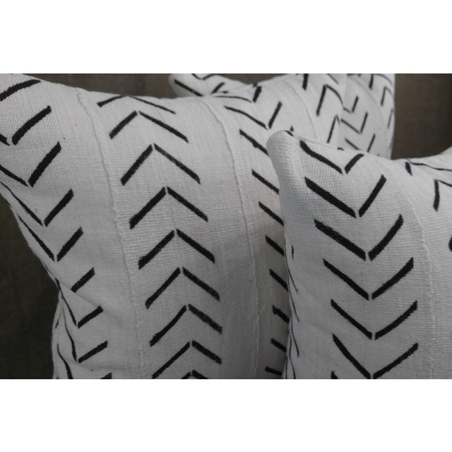 """Set of Three Throw Pillows in Vintage Authentic """"Mudcloth"""" white with black design, pillows are lined to prevent..."""