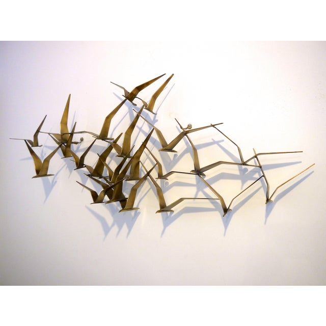 "1968 C. Jere Brass Brutalist "" Birds in Flight"" Wall Sculpture For Sale - Image 5 of 8"