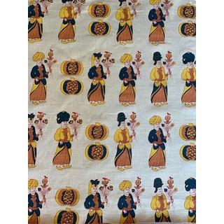 "Boho Chic Katie Ridder Fabric ""Attendants"" - Mandarin - 52ʺw × 33ʺl For Sale"