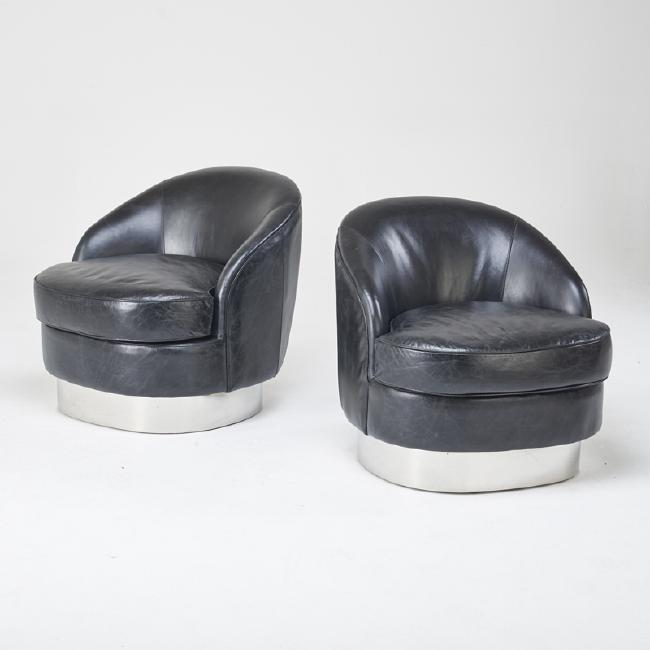 Contemporary Pair Of Mid Century Modern Barrel Chairs In The Style Of Milo  Baughman, Circa