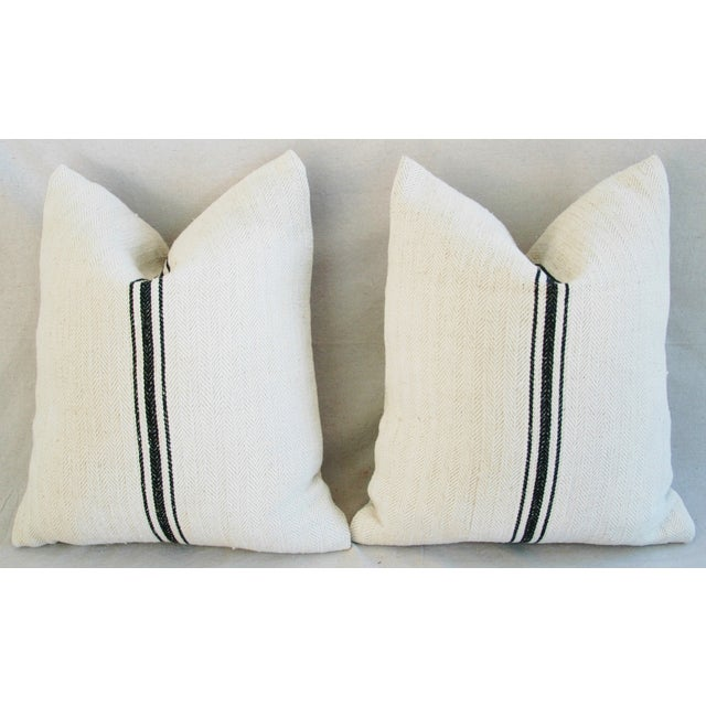French Grain Sack Down & Feather Pillows - A Pair - Image 7 of 10