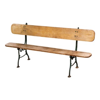 Early 20th Century French Oak and Green Painted Cast Iron Garden Bench For Sale