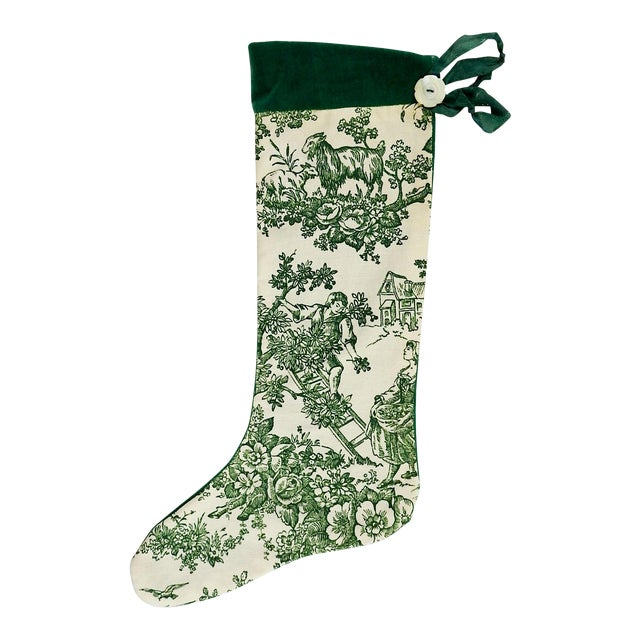 Vintage Green Toile Christmas Stocking - Image 1 of 4