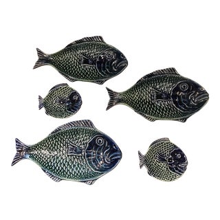 Vintage Olfaire Majolica Ceramic Fish Serving Dishes - Set of 5 For Sale
