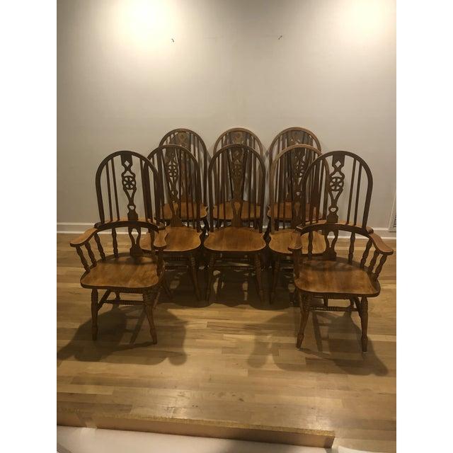 Vintage Oak Wheel Back Windsor Dining Chairs - Set of 8 For Sale - Image 13 of 13