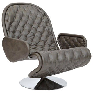 Verner Panton Fritz Hansen Leather 123 Chair For Sale