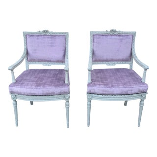 1920s French Louis XVI-Style Armchairs-a Pair For Sale