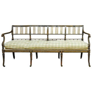 19th Century English Regency Painted and Parcel-Gilt Bench Settee For Sale