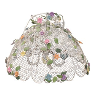 Vintage Shabby Chic Rustic Floral Ceiling Lamp For Sale