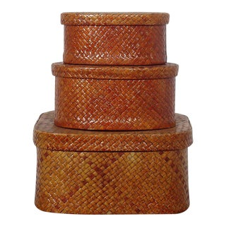 Trio of Woven Boxes For Sale