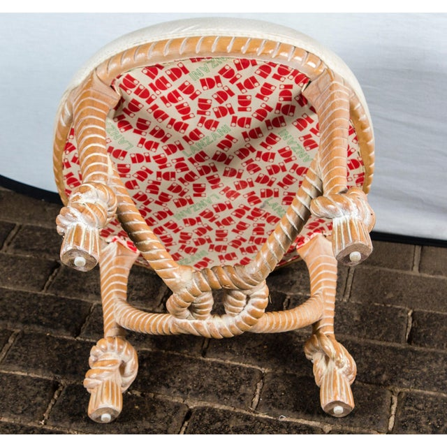 Carved Wood Faux Rope Circular Bench, French Style For Sale - Image 10 of 11